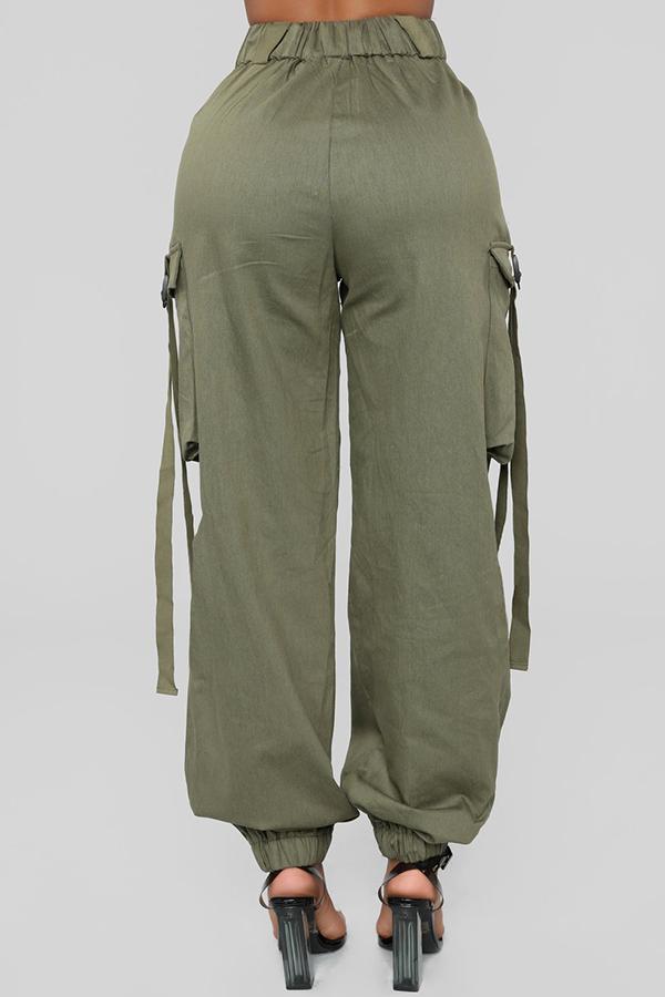 Lovely  Euramerican Pockets Both Side Green Cotton Pants