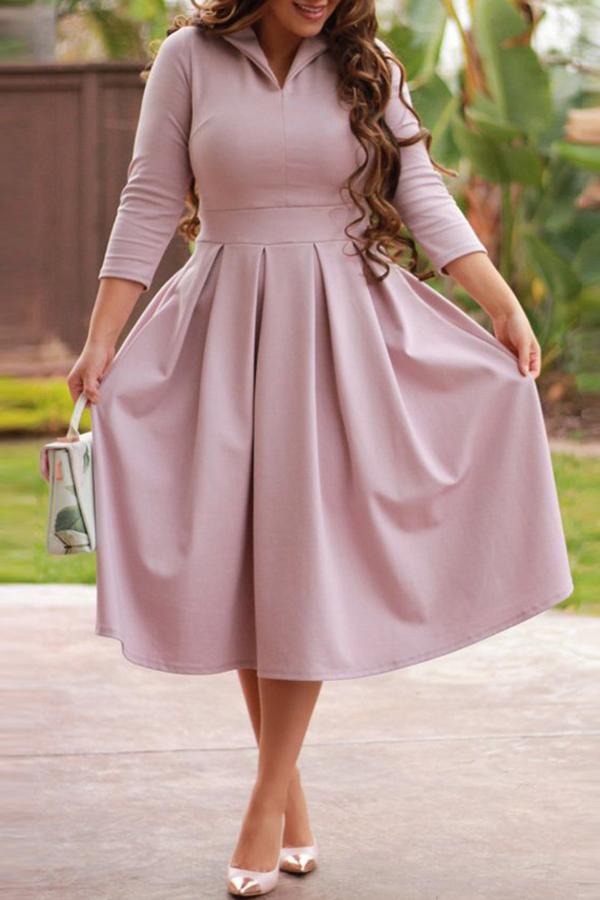 Lovely Euramerican Long Sleeves Drape Design Pink Mid Calf  Dress