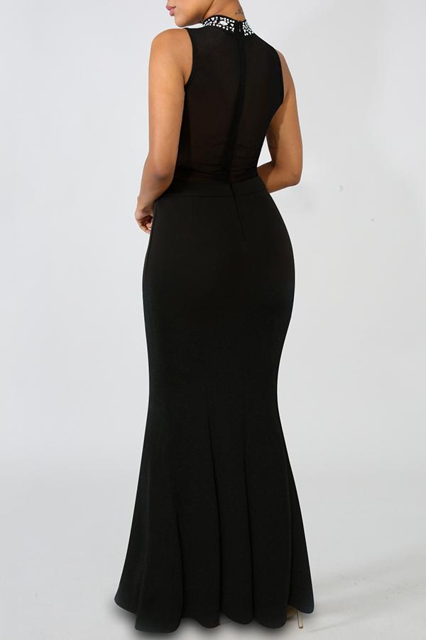 Lovely Elegant Hot Drilling Decorative Black Floor Length Dress