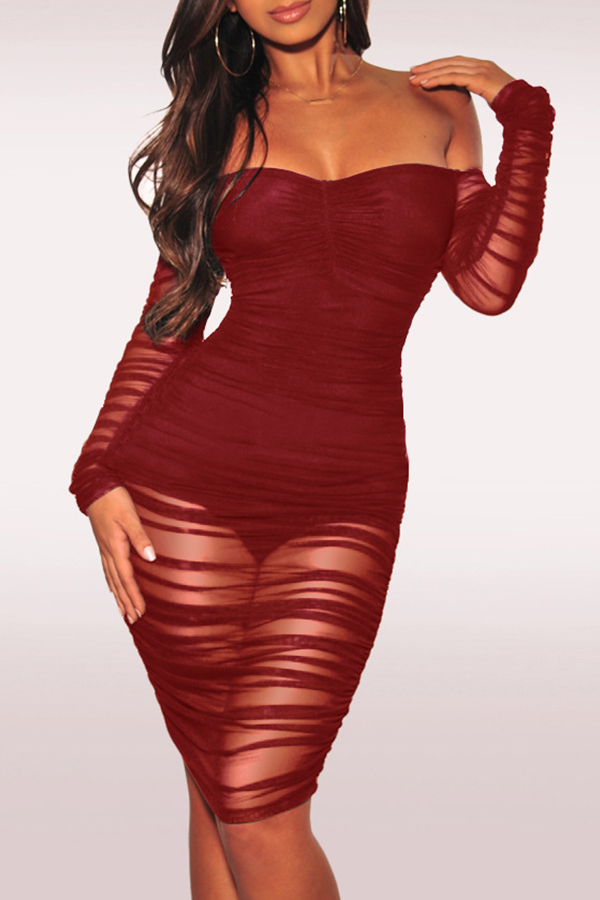 Lovely Sexy Hollowed-out Slim Wine Red Knee Length Dress