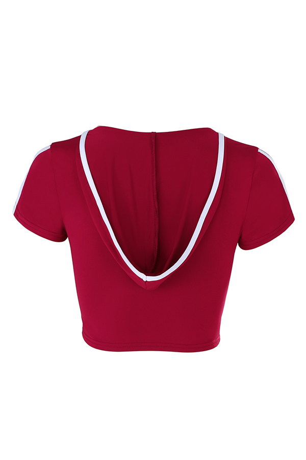 Lovely Casual Hollowed-out Wine Red T-shirt