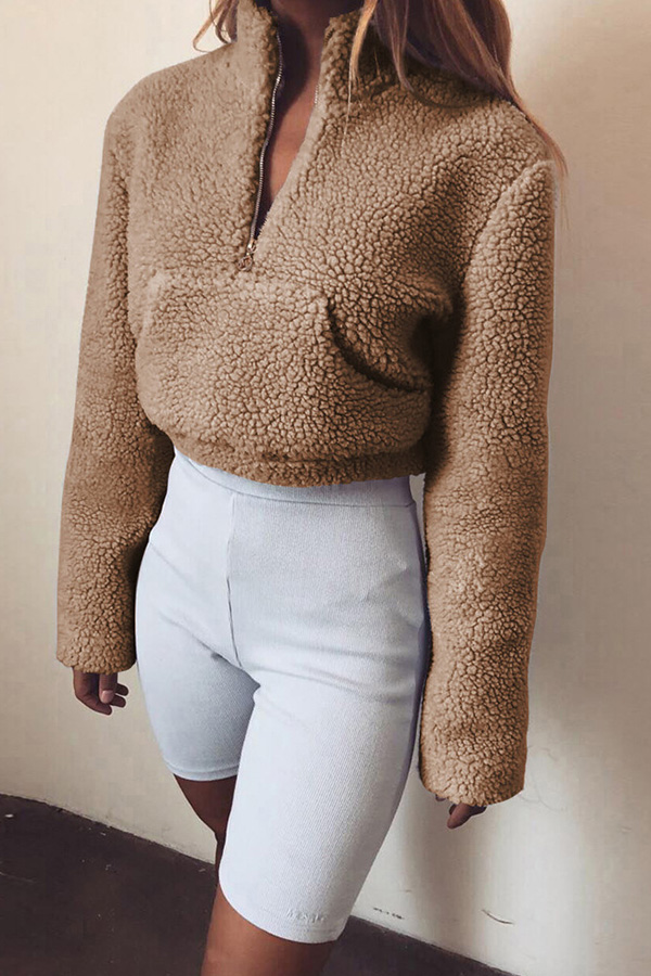Lovely  Casual Long Sleeves Pocket Khaki Hoodies