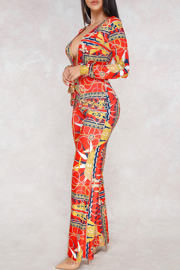 Lovely  Euramerican Printed Loose Red One-piece Jumpsuit