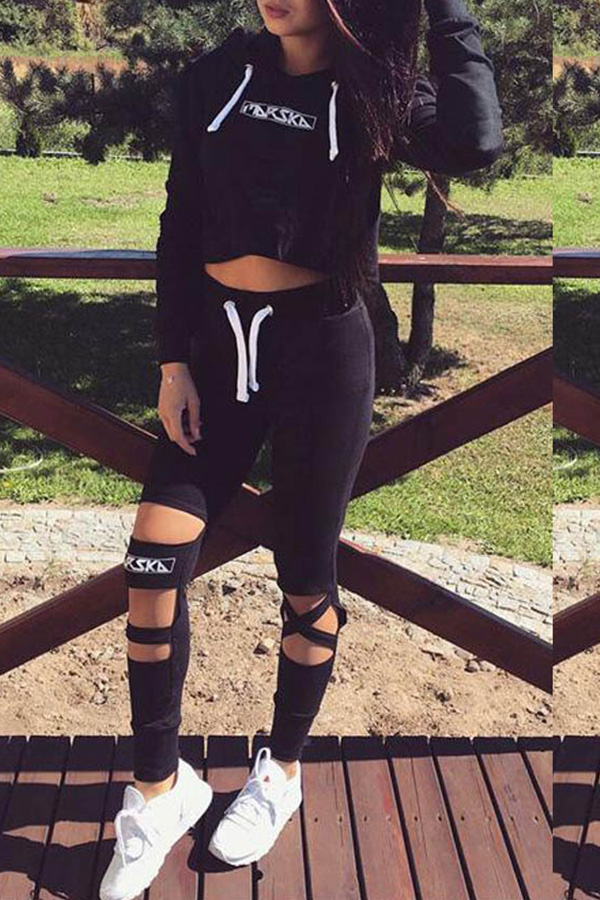 Lovely Trendy Hollowed-out Letters Printed Black Twilled Satin Two-piece Pants Set