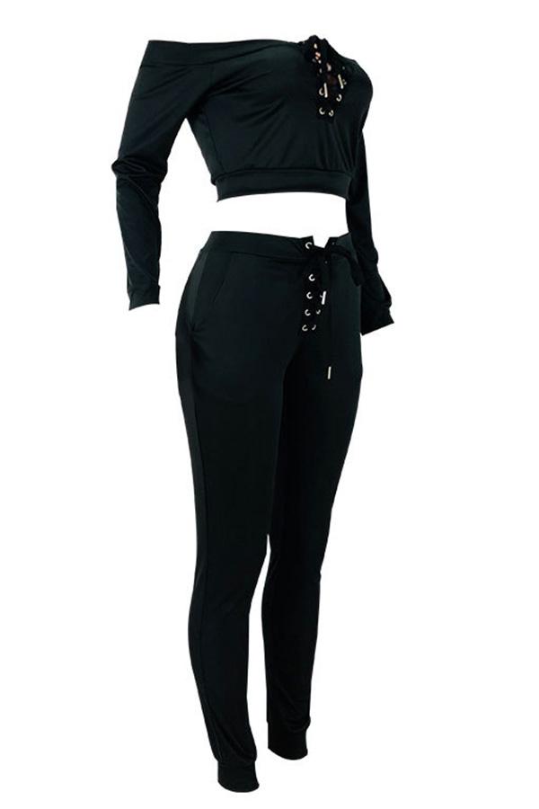 Lovely Casual Dew Shoulder Black Twilled Satin Two-piece Pants Set