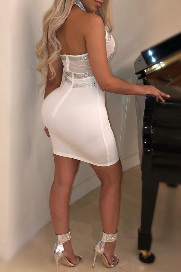 Lovely Sexy Rhinestone Decorative White Blending Mini Dress