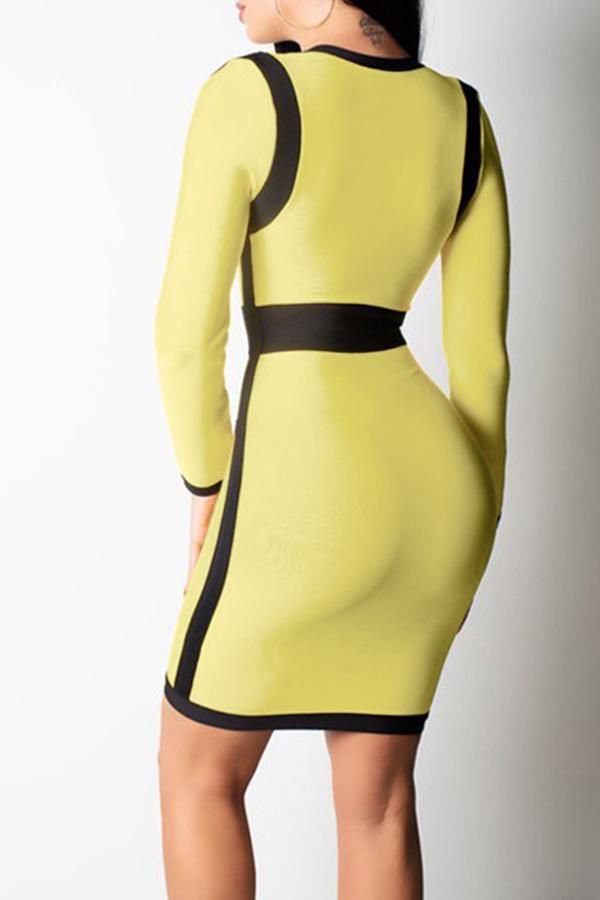 Lovely Sexy Patchwork Slim Yellow  Mini  Dress