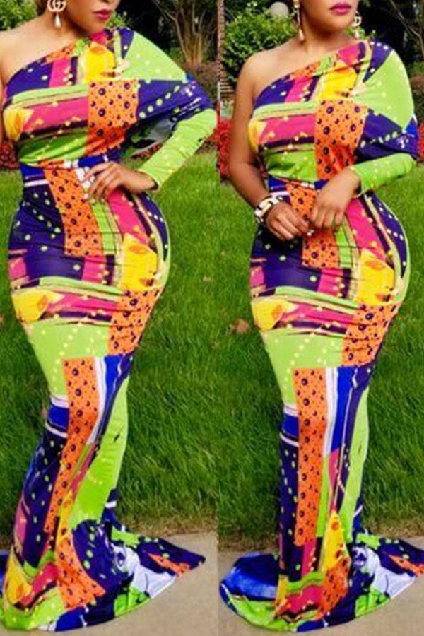 Lovely Casual Dew Shoulder Printed Multicolor Floor Length Dress