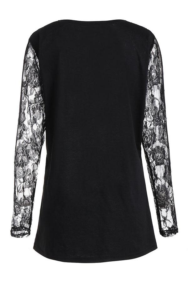 Lovely Euramerican Patchwork Black T-shirt