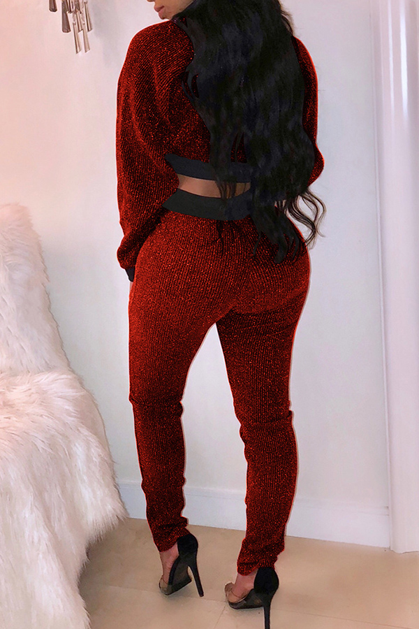 Lovely Euramerican Patchwork Long Sleeves Wine Red Knitting Two-piece Pants Set
