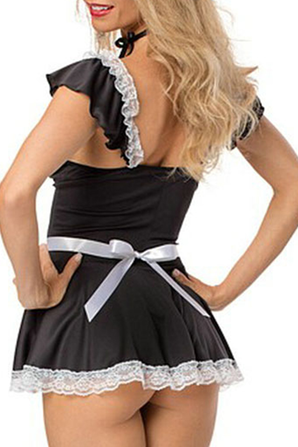 Lovely Sexy Naughty Housemaid Black Cosplay Costumes
