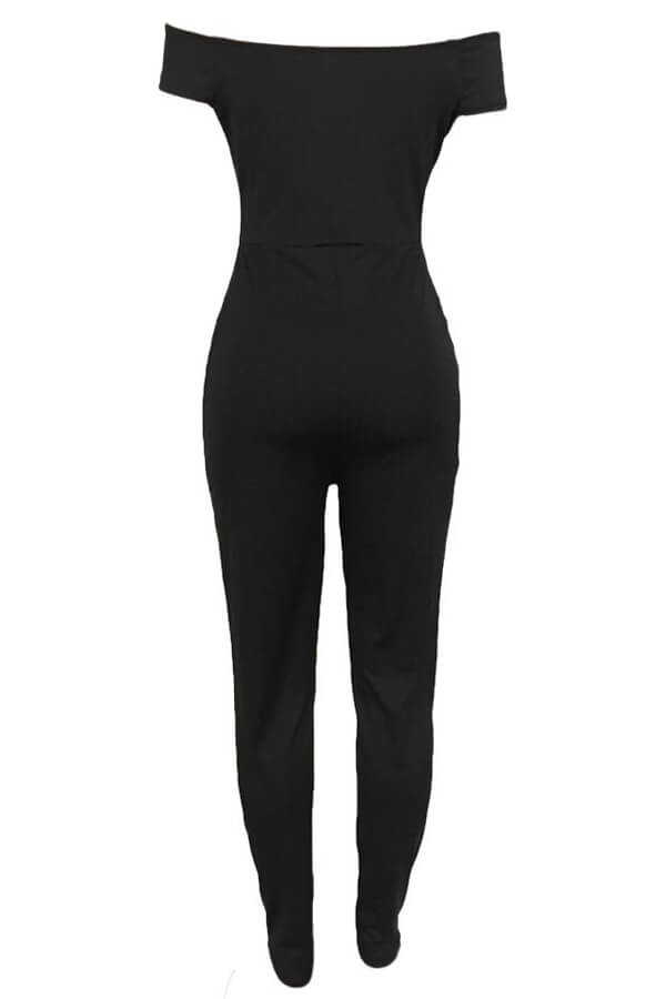 Lovely Euramerican Dew Shoulder Skinny Black One-piece Jumpsuit
