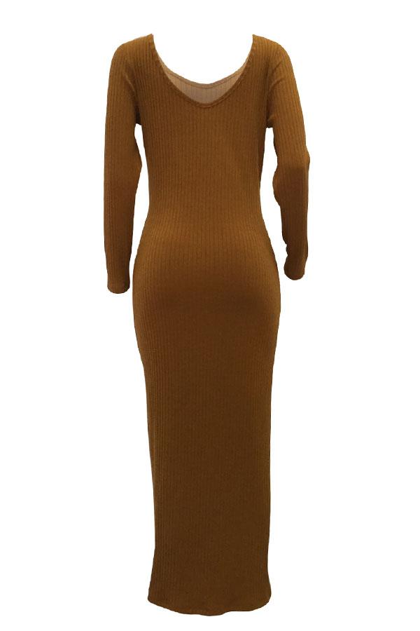 Lovely Casual Long Sleeves Slim Brown Ankle Length  Dress