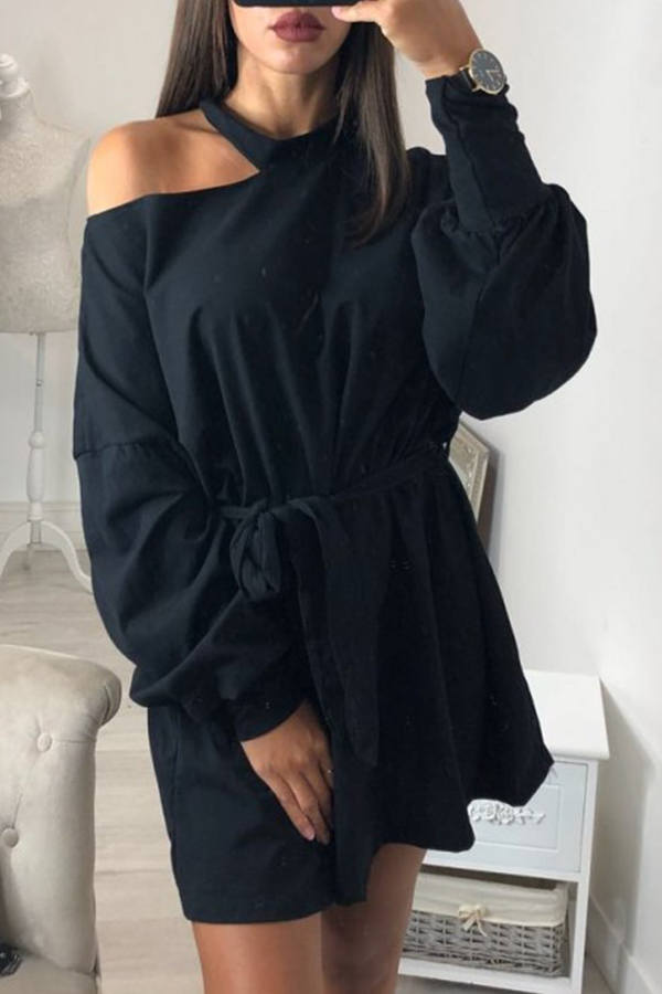 Lovely  Casual Hollowed-out Long Black Sweats