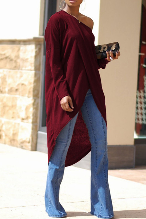 Lovely Casual Asymmetrical Dew Shoulder Wine Red Blouses