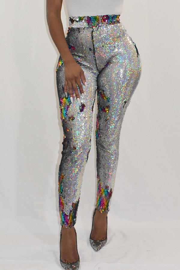 Bonitos Pantalones De PU Multicolor Con Lentejuelas Decorativos Con Lentejuelas Multicolor