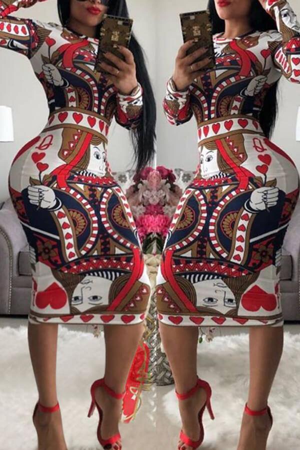 Lovely Trendy Poker Printed Brown Knee Length Dress