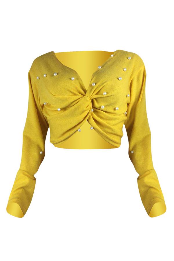Lovely Acrylic Fashion Beading Short Long Sleeve V Neck  Sweaters & Cardigans