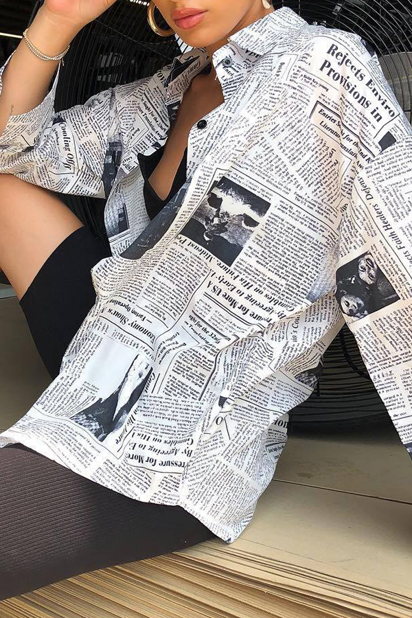 Lovely Casual Newspaper Printed Multicolor Blouses (Batch Print)
