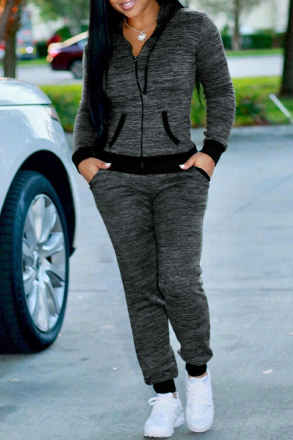 Lovely Casual Hooded Collar Grey Knitting Two-piece Pants Set