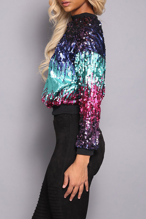 Lovely Trendy Sequined Decorative  Multicolor Hoodies