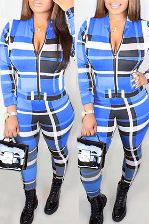 Lovely Euramerican Grids Printed Blue Twilled Satin One-piece Jumpsuit