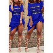 Lovely Euramerican Letters Printed Blue Knee Length Dress