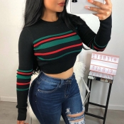 Lovely Vogue Striped Short Black Sweaters