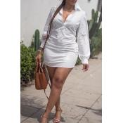 Lovely  Casual V Neck Slim White Knitting Mini Dre