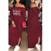Lovely Euramerican Dew Shoulder Letters Printed Wine Red Ankle Length Dress