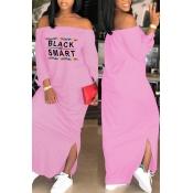 Lovely Euramerican Dew Shoulder Letters Printed Pink Ankle Length Dress