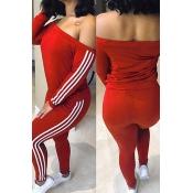 Lovely Leisure Dew Shoulder Striped Patchwork Wine Red Milk Fiber Two-piece Pants Set