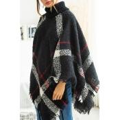 Lovely Trendy Cloak Design Torn Edges Black Sweate