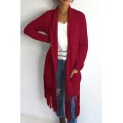Lovely Casual Tassel Design Long Purplish Red Cotton Coat