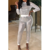 Lovely  Casual Sequined Design White Two-piece Pants Set
