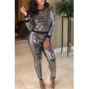 Lovely  Casual Sequined Design Black Two-piece Pants Set
