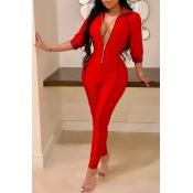 Lovely Casual Zippers Design  Red Twilled Satin One-piece Jumpsuit