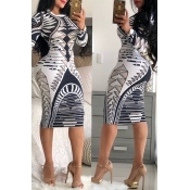 Lovely Casual Geometric Printed Slim White Knee Length Dress