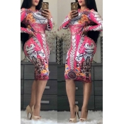 Lovely Casual Printed Slim Pink Knee Length Dress