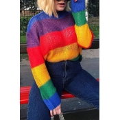 Lovely Sweet Color-striped Multicolor Mohair Sweat