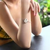 Lovely Euramerican Shell Shape Silver Metal Bracel