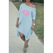 Lovely Fashion Asymmetrical Printed Light Blue Blending Mid Calf Dress