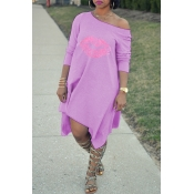 Lovely Fashion Asymmetrical Printed Purple Blendin