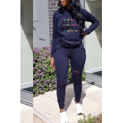 Lovely Casual Hooded Collar Letters Printed Deep B