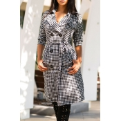 Lovely Casual Work Grids Printed Black Long Trench