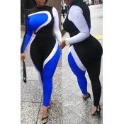 Lovely Euramerican Sports Patchwork Blue Blending One-piece Jumpsuit