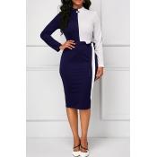 Lovely Elegant Patchwork Blue Knee Length Dress