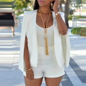 Lovely Temperament Cape Design White Blazer