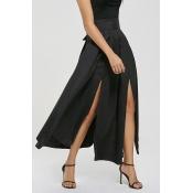 Lovely Trendy Side High Slit Black Cotton Ankle Le