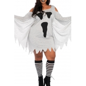 Lovely Euramerican Halloween Ghost Print Grey Mini